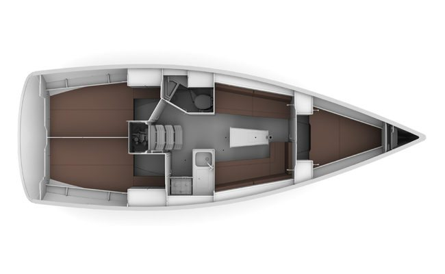 Bavaria Cruiser 34 2 Cabins, 1 Head Layout