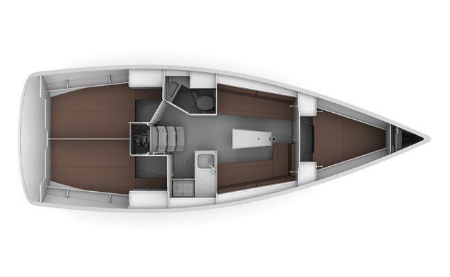 Bavaria Cruiser 34 2 Cabins, 1 Head Layout