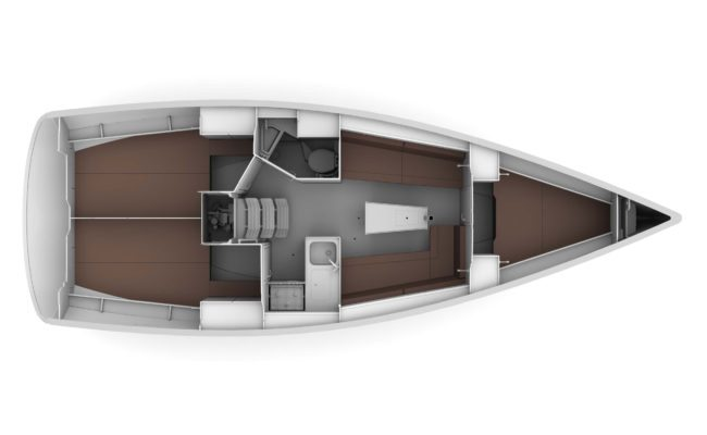 Bavaria Cruiser 34 3 Cabins, 1 Head Layout