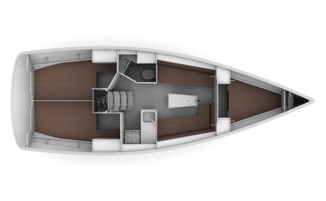 Bavaria Cruiser 34 3 Cabins, 1 Head Layout