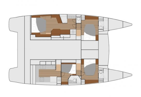 Fountaine Pajot Ipanema 58 4 Cabins, 4 Heads Layout