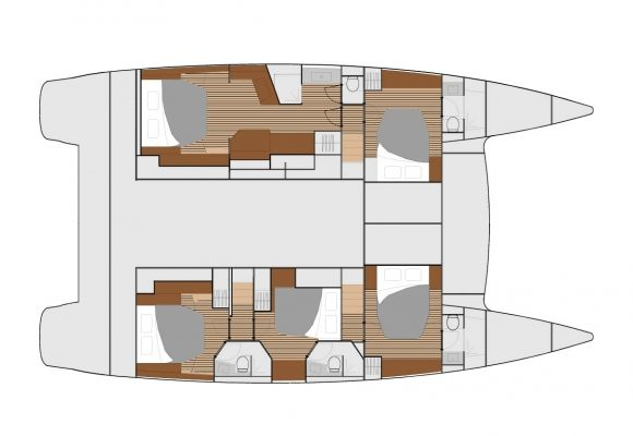 Fountaine Pajot Ipanema 58 5 Cabins, 5 Heads Layout