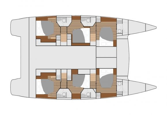 Fountaine Pajot Ipanema 58 6 Cabins, 6 Heads Layout