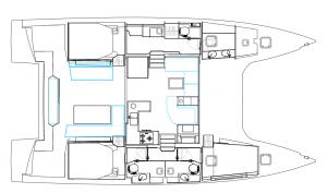 Nautitech 46 Open 3 Cabins 3 Heads Layout
