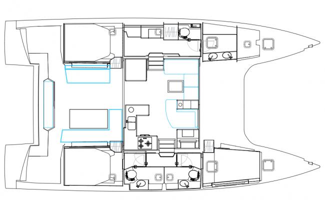 Nautitech 46 Open Catamaran 3 Cabins, 3 Heads Layout