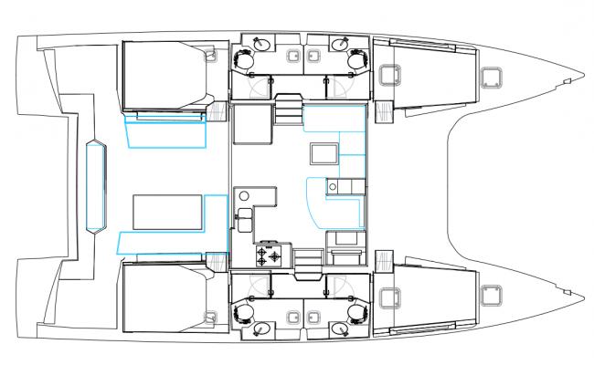 Nautitech 46 Open Catamaran 4 Cabins, 4 Heads Layout