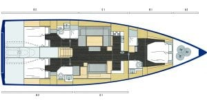 Bavaria Cruiser 57 3 Cabins 3 Heads Layout