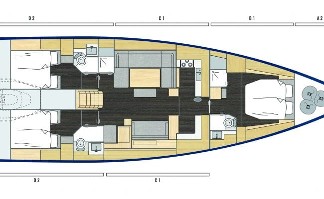 Bavaria C57 3 Cabins, 3 Heads Layout