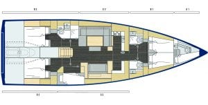 Bavaria Cruiser 57 6 Cabins 4 Heads Layout