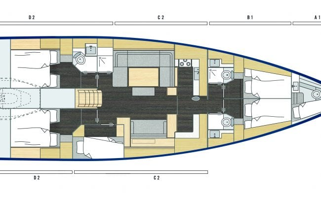 Bavaria C57 6 Cabins, 4 Heads Layout