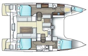 Nautitech Open 40 Catamaran 3 Cabins, 2 Heads Layout
