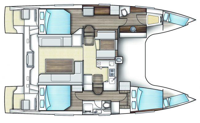 Nautitech Open 40 Catamaran 3 Cabins, 2 Heads Layout