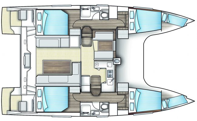 Nautitech Open 40 Catamaran 4 Cabins, 2 Heads Layout