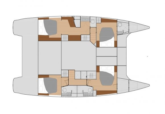 Fountaine Pajot Saba 50 4 Cabins, 4 Heads Layout
