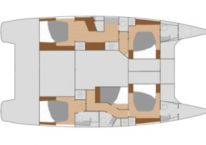 Fountaine Pajot Saba 50 5 Cabins, 5 Heads Layout
