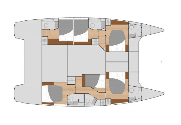 Fountaine Pajot Saba 50 6 Cabins, 6 Heads Layout