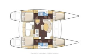 Lagoon 380 Catamaran 4 Cabins, 3 Heads Layout