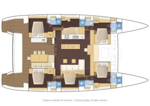 Lagoon 620 Catamaran 6 Cabins, 6 Heads Layout