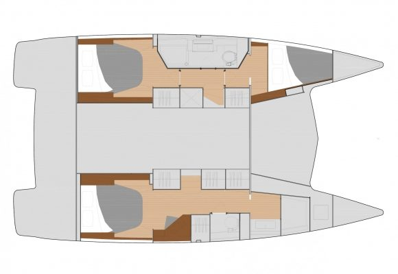 Fountaine Pajot Lucia 40 3 Cabins, 2 Heads Layout