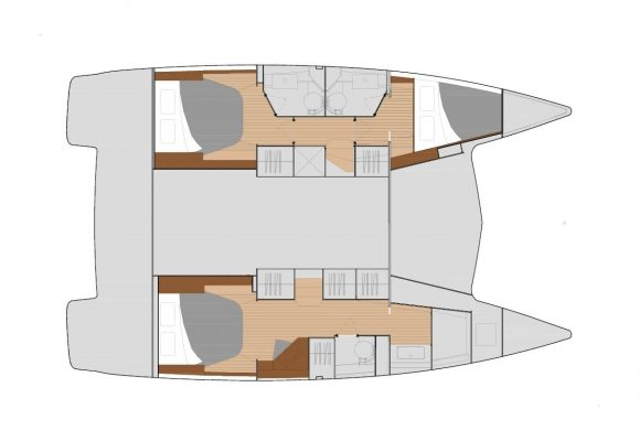 Fountaine Pajot Lucia 40 3 Cabins, 3 Heads Layout