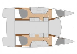 Fountaine Pajot Lucia 40 4 Cabins, 2 Heads Layout