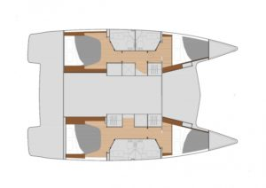 Fountaine Pajot Lucia 40 4 Cabins, 4 Heads Layout