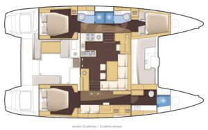 Lagoon 450 SporTop 3 Cabins, 3 Heads Layout
