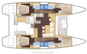 Lagoon 450 SporTop 4 Cabins, 4 Heads Layout