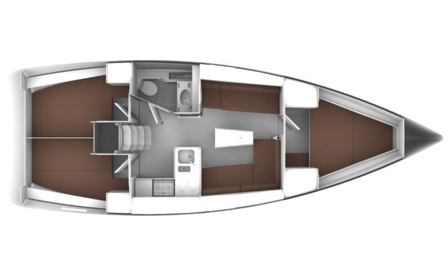 Bavaria Cruiser 37 3 Cabins, 1 Head Layout