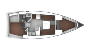 2019 Bavaria Cruiser 37 2 Cabins 1 Head Layout
