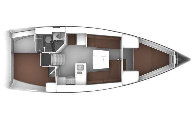Bavaria Cruiser 37 2 Cabins, 1 Head Layout