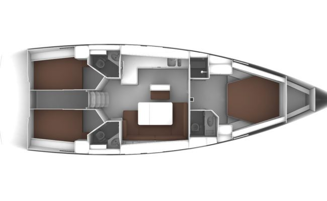 Bavaria Cruiser 46 3 Cabins, 3 Heads Layout