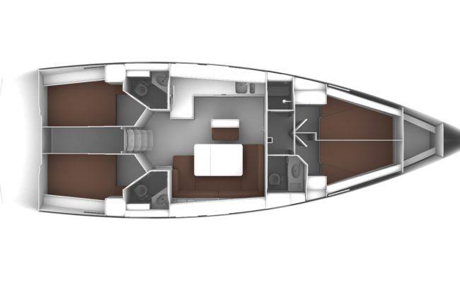 Bavaria Cruiser 46 4 Cabins, 3 Heads Layout