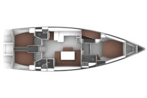 Bavaria Cruiser 51 5 Cabins, 3 Heads Layout