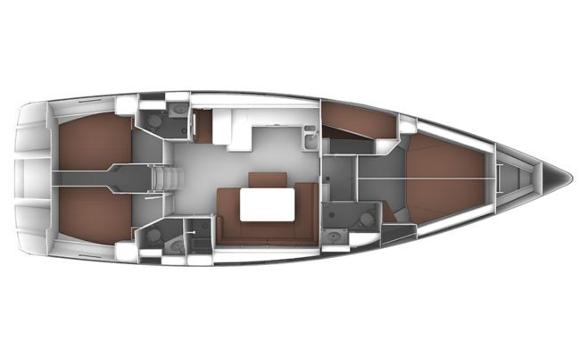 Bavaria Cruiser 51 4 Cabins, 3 Heads Layout