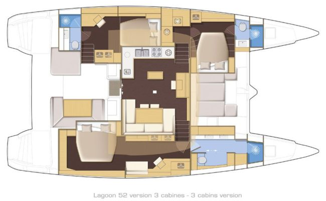 Lagoon 52 SporTop 3 Cabins, 3 Heads Layout
