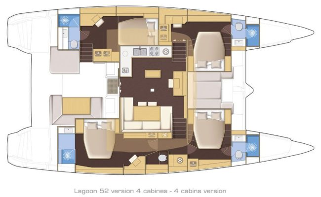 Lagoon 52 SporTop 4 Cabins, 4 Heads Layout