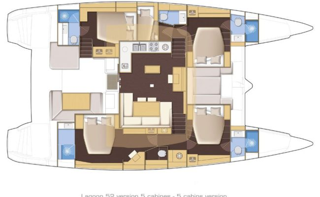 Lagoon 52 SporTop 5 Cabins, 5 Heads Layout