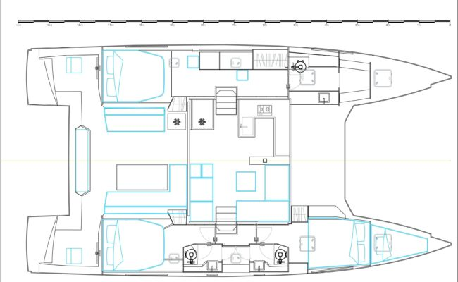 Nautitech 46 Fly Catamaran 3 Cabins, 3 Heads Layout