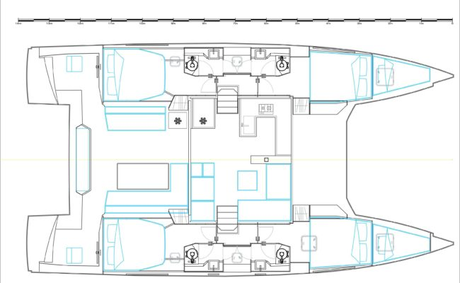 Nautitech 46 Open Catamaran 4 Cabins, 4 Heads Layout