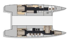 Nautitech 541 3 Cabins 4 Heads Layout
