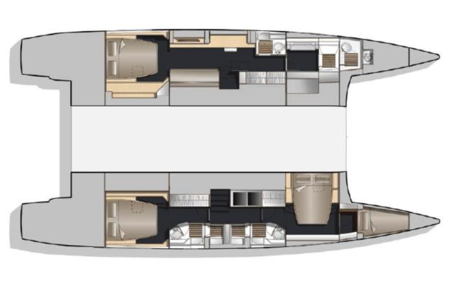 Nautitech 541/542 Catamaran 3 Cabins, 4 Heads Layout