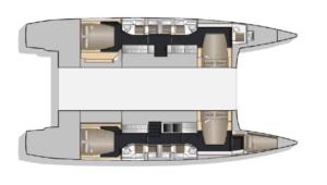 Nautitech 541 4 Cabins 5 Heads Layout
