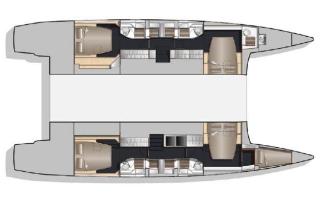 Nautitech 541/542 Catamaran 4 Cabins, 5 Heads Layout