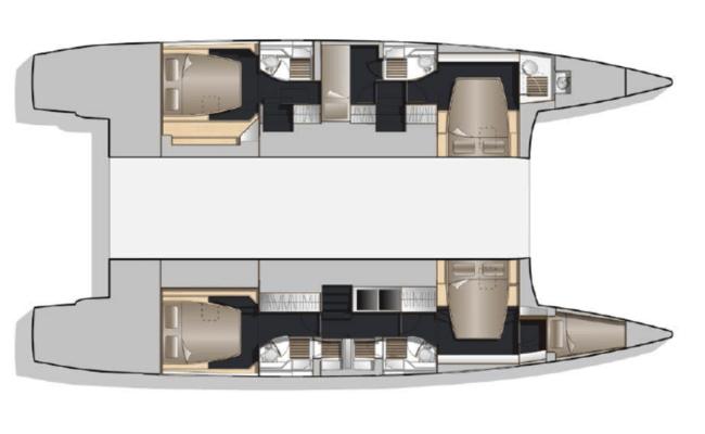 Nautitech 541/542 Catamaran 5 Cabins, 5 Heads Layout