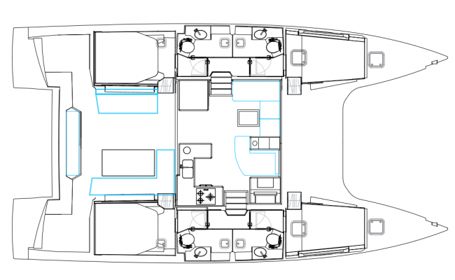 Nautitech 46 Fly Catamaran 4 Cabins, 4 Heads Layout