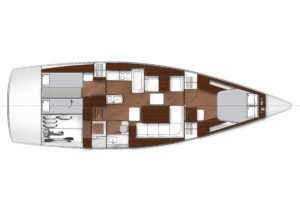 2019 Bavaria Vision 46 2 Cabins 1 Head Layout