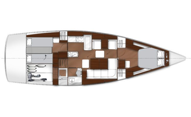 Bavaria Vision 46 2 Cabins, 1 Head Layout