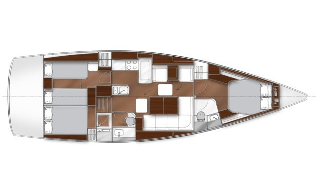 Bavaria Vision 46 3 Cabins, 2 Heads Layout
