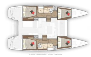 2019 Lagoon 40 Catamaran 4 Cabins 2 Heads Layout